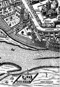 Section of 1651 map of Galway city with the Poor Clares  convent in the foreground